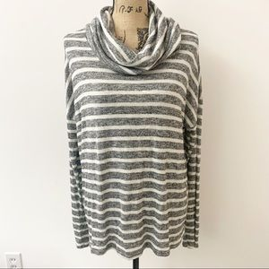 Maurice's Gray White Striped Cowl Neck Sweater L